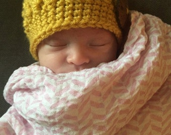 Crochet Baby Beanie with Flower or Wooden Button
