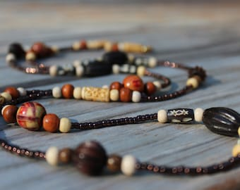 Brown Beaded Necklace, Long Wood Boho Beaded Necklace, Earth Tones