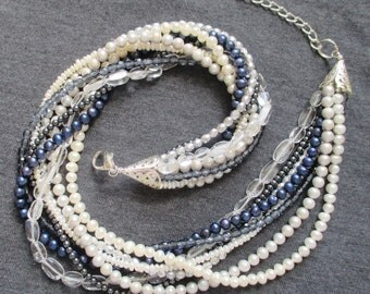 Dressy Blue-Beaded Necklace -- Eight-Strands of Freshwater Pearls, Crystals, and Seed Beads -- A Showpiece Necklace Unique to This Shop