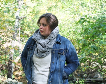 The Bailey Cowl Scarf, Crochet Hooded Cowl, Crochet Cowl, Hooded Cowl in Light Gray, Soft Acrylic