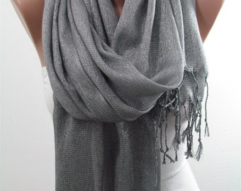 Sparkle Scarf Gray Scarf Shawl Cowl Scarf Circle Scarf Women Fashion Accessories Bridal Accessories Holiday Fashion Christmas Gifts For Her