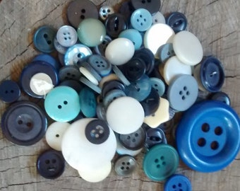 Vintage Buttons: Lot of 100 Blue and White