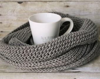 Men's or Women's Knit-like Ribbed Infinity Scarf in Greybeard