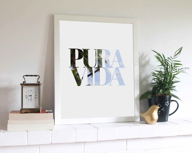 Pura vida typographic printable for Pura vida pdf