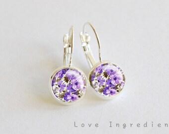 Floral dangle earrings, Vintage floral silver tiny drop earring, friendship earrings, Post earrings, gift for her girlfriend, rustic DE006