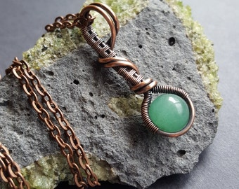 Wire Wrapped Pendant, Wire Weaved Copper, Green Aventurine, Wired Wrap Arts, Handmade Jewelry, Crystal Healing Art, One of a Kind, Unique