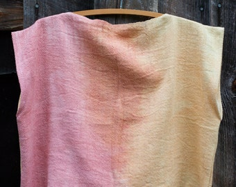 handwoven, sunrise crop top, naturally dyed