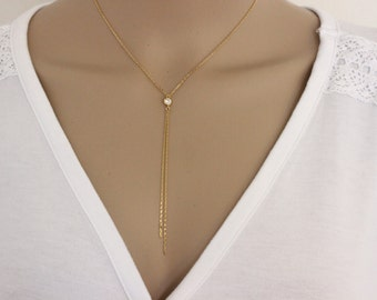 CZ Diamond lariat gold necklace, dainty necklace, silver necklace, delicate gold silver necklace, y necklace, bridesmaid gift, sister gift