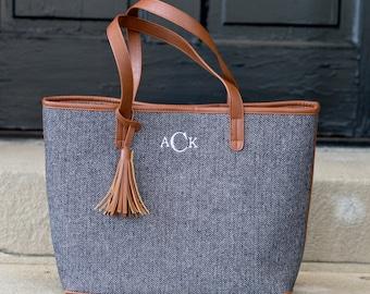 Monogrammed Wool Herringbone Tassel Tote Bag | Handbag