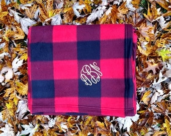 Monogrammed Buffalo Plaid Blanket