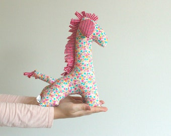 Floral stuffed giraffe nursery -handmade unique baby shower gift nursery decor as well as a great kids toy, plush animal softie