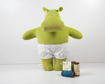 Green plush doll - Green stuffed hippo - Soft doll with white underpants - Hippopotamus toy which is a great toy for girls and boys