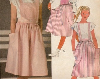 Easy McCall's 9122 Sewing Pattern, Girls' Skirt, Straps and Bibs, Size 7, Uncut Vintage Pattern