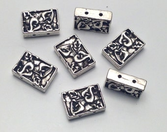 7 sterling plate,2 holes, made in Bali connectors , 10mm x 14mm #CON103