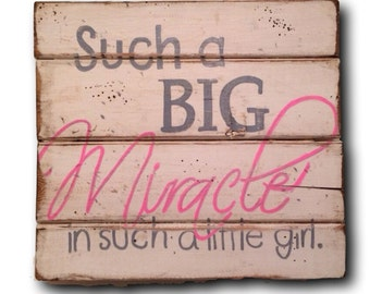Such a Big Miracle in Such a Little Girl Wall Hanging / Nursery Decor