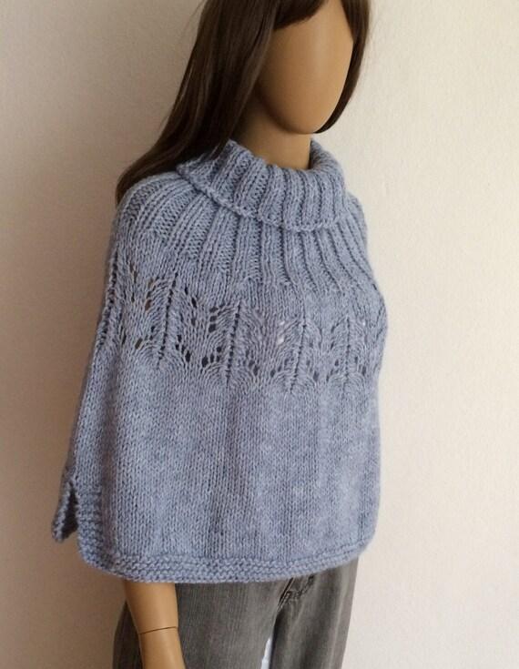 Knitting Pattern Turtleneck Capelet : Woman Poncho Turtleneck Poncho Blue Sweater Poncho Crop