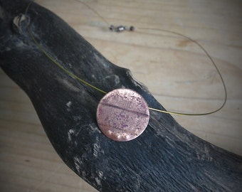 Unique, textured copper pendant, with Garnet.x