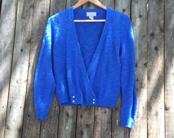 80's Royal Blue Low Pear Button Cardigan