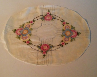 Charming Bucilla (?) Floral Boudoir Pillow Top, Sham, Beautiful Embroidery, French Knots, Pastels