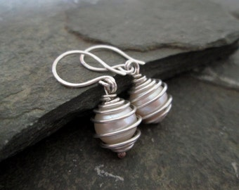 Pearl Earrings - Wire Wrap Earrings, Drop Earrings, Bridal Jewellery, Wedding Jewelry, Weddings