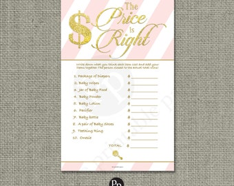 The Price is Right Shower Game   Baby Shower Game   Pink White Stripe with Gold Glitter Lettering Design   Calligraphy IAG-133H