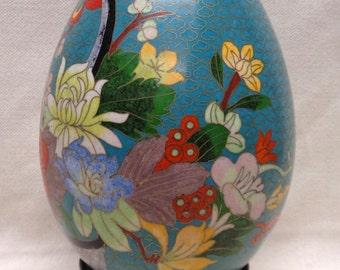 """Decorative Cloisonné Egg w. Colorful Floral Designs & Wooden Stand 8.5"""" VINTAGE"""