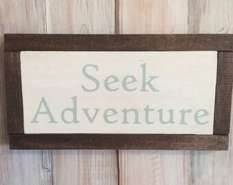 Seek Adventure Sign, Adventure Nursery, Woodland Nursery, Seek Adventure Quote, Adventure Sign, Adventure Quote, Adventure Decor, Wood Sign