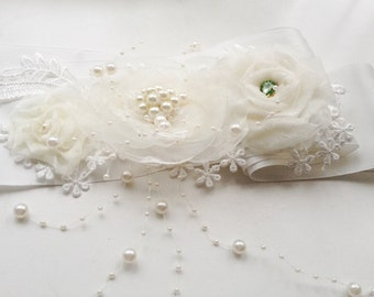 bridal sash belt, ivory bridal sash belt, bridal sash, ivory flower sash belt,