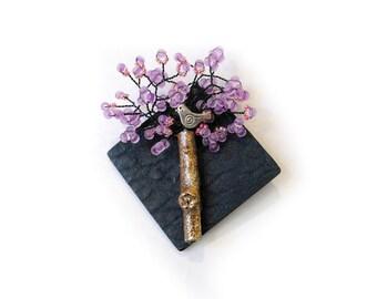 Lavender Purple Tree & Bird Brooch / Necklace Pendant