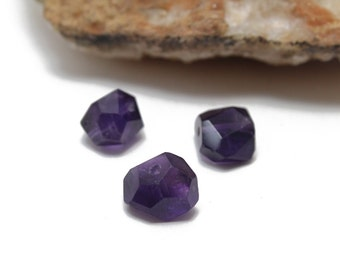 Genuine Faceted Amethyst Nuggets Approx. 8x12mm 3pcs
