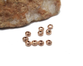 Rose Gold Saucer Style Spacers 4mm 10pcs