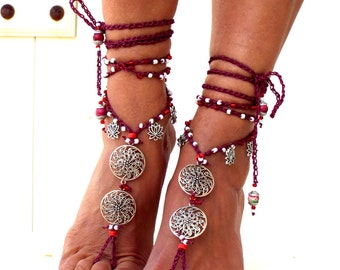 "Barefoot Sandals, ""Red planet"" Barefoot Beach Jewelry, gift for her, Hippie Sandals, Foot Jewelry, Toe Thong, festival accessories, yoga toe"