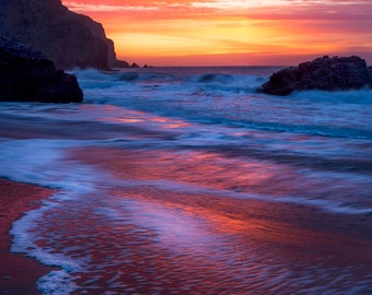 California Beach Photo for sale - Beautiful Photograph Print for Interior Wall Decoration - Sunset on a California Beach - California Art