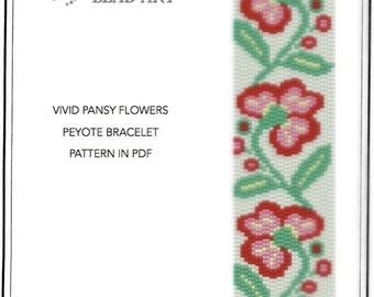 Pattern, peyote bracelet - Vivid pansy flowers peyote bracelet pattern in PDF instant download