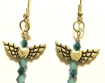 Blue Heart Winged Earrings, Dangle Earrings, Silver Earrings IN:0011