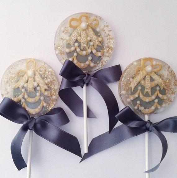 3 Gilded Imperial Easter Egg Lollipops