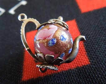 Sterling Murano Tea Pot Charm Vintage Venetian Wedding Cake Glass Silver Charm for Bracelet from Charmhuntress 02422