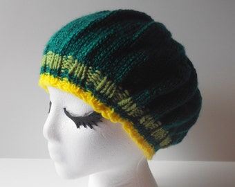 Handknit dark green and gold beret, hunter green and gold slouch hat, hunter green beret