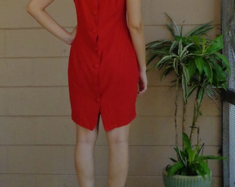 Vintage Cut Out Dress / Red Button Down / Medium