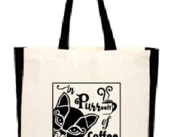 Inspirational Cat/Coffee Quote Tote Bag, Gift Bag, Cotton bag, In Purrsuit of Coffeeness