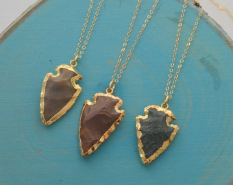 Gold and Jasper Arrow Head Necklace - Arrow Necklace - Long Layering Necklace