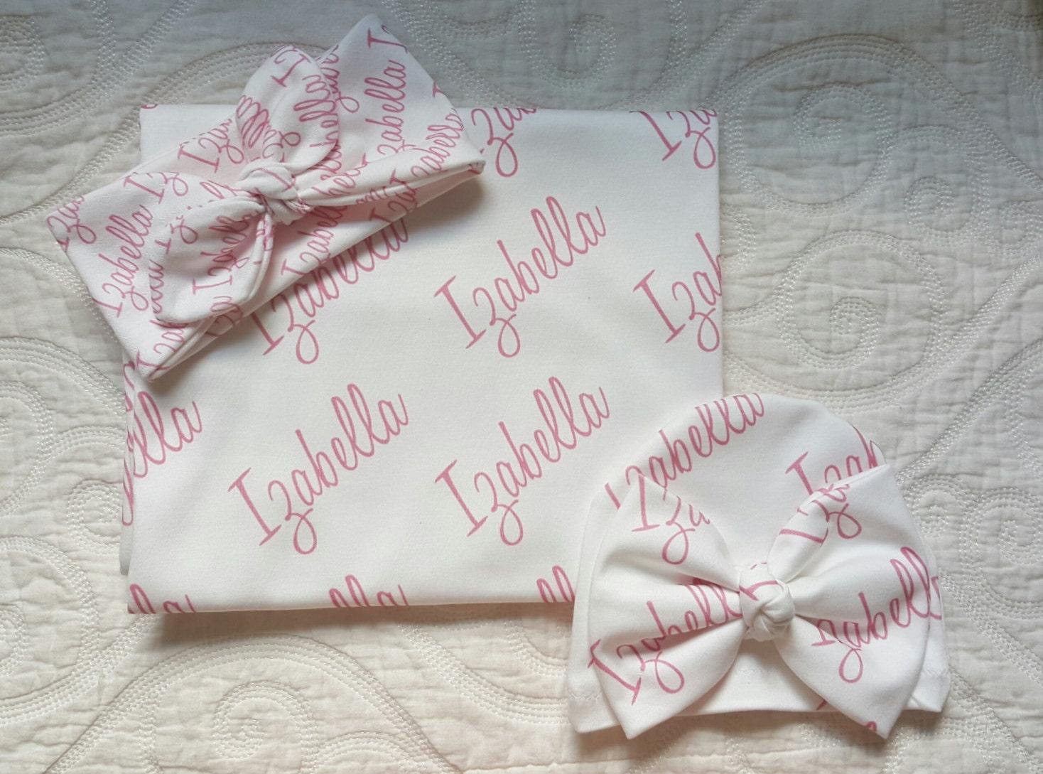 Baby name blanket personalized newborn gift set 100 organic zoom negle Gallery