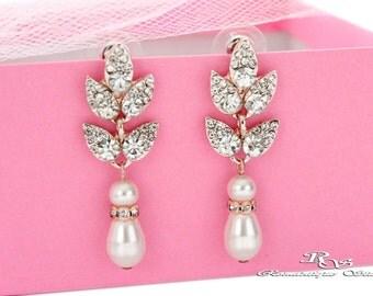 ROSE GOLD Pearl earrings Wedding pearl earrings Bridal pearl earrings Pearl drop earrings Pearl dangle earrings Bridesmaid earrings 1426RG