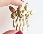 Butterfly Hair Comb, Nature Bridal Gold, Fairy Wedding, Briedsmaids Hair Comb, Bride Hair Comb, Golden haircomb