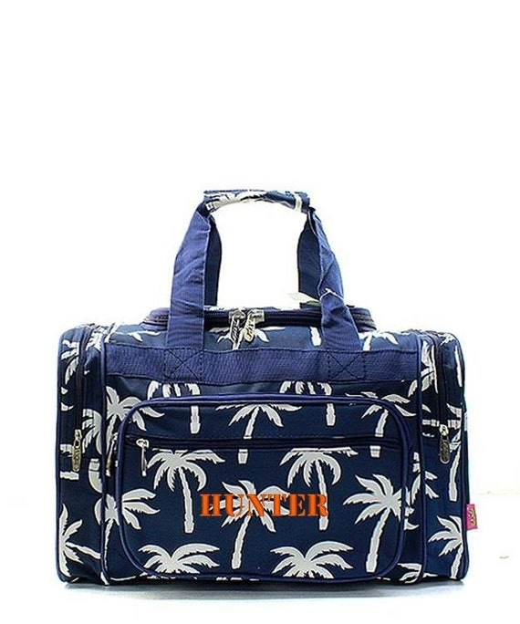 Personalized Palm Tree Navy Blue 17 Duffle Gym Tote Bag
