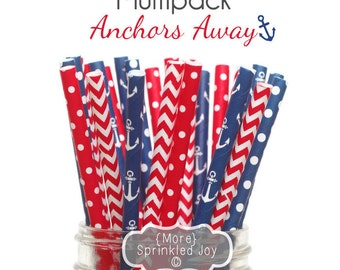 Anchors Away RED, WHITE & BLUE Paper Straws, Multipack, Chevron, Dots, 25 Straws, Navy, Red, Memorial Day, Anchors, Nautical, Partiotic