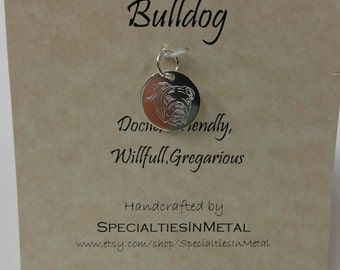 Bulldog charm, Sterling silver (925) charm engraved with a lovable bulldog, Personalized dog charm