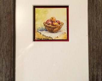 """Original Watercolor painting on Clayboard """"My Little But Happy Harvest"""" by Camille Collins, in Reds, Yellows, Greens"""