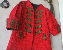 Child Pirate Coat, Circus Ring Master, Steampunk Jacket, Ready To Ship NOW - Size 4, All Cotton Outer&Fully lined with Satin, All Handmade