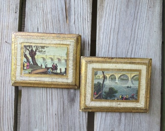 "Pair of Vintage Italian Florentine Wood Wall Plaques/Hangings - Gold Gilt - 5 1/2"" x 4 1/2"""